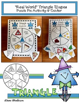 """2D Shapes: """"Real World"""" TRIANGLE Puzzle Pie Activity & Cen"""