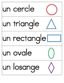 2D Shapes Vocab Cards French