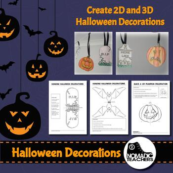 2D and 3D Halloween decorations - colour, cut and paste 12