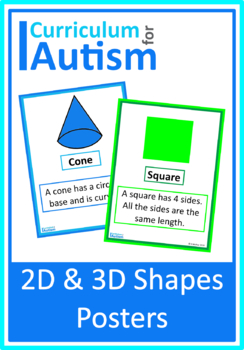 2D 3D Shapes Posters, Autism, Special Education, Math
