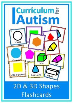 2D & 3D Shapes Flash Cards- Name, Sort, Match, Autism & Sp