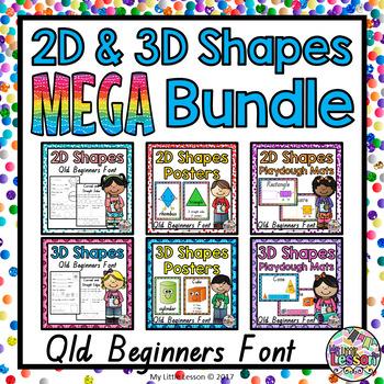 2D and 3D Shapes MEGA Bundle QLD Beginners Font
