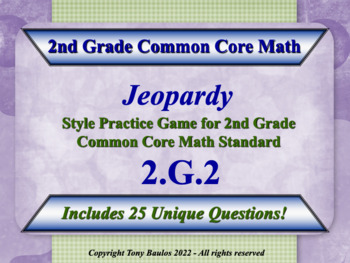 2.G.2 2nd Grade Math Jeopardy Game - Partition a Rectangle
