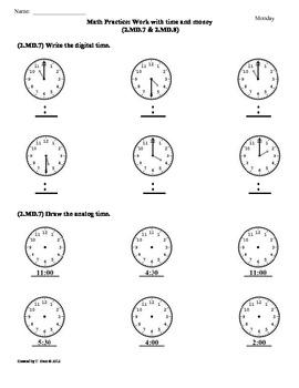2nd Grade Math Worksheets Time And Money - 2nd grade math ...