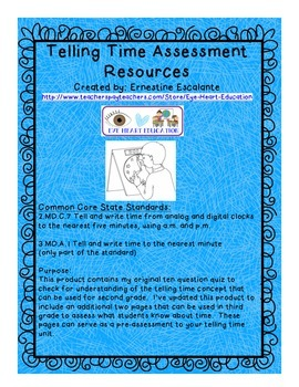 2nd & 3rd Grade Math: 2.MD.C.7/3.MD.A.1 Telling Time Quiz