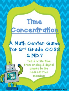 2.MD.7 - Time Concentration - 2nd Grade Math Game - Aligne