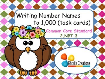 2.NBT.3 Writing Number Names to 1,000 Task Cards (Numbers