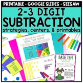 2-3 Digit Subtraction Strategies Centers and Printables