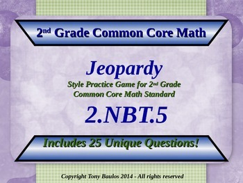 2.NBT.5 2nd Grade Math Jeopardy Game - Add & Subtract Within 100