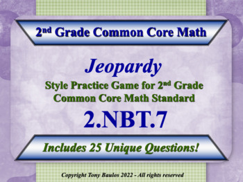 2.NBT.7 2nd Grade Math Jeopardy Game  - Add And Subtract W