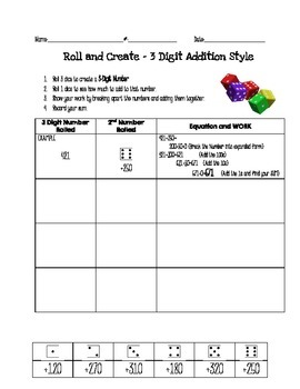 2.NBT.7 - Roll & Create 3 Digit Addition