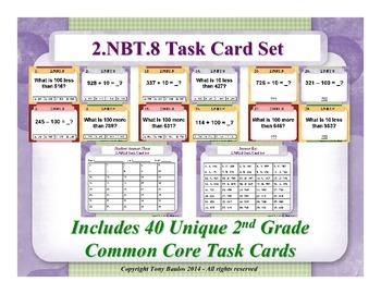 2.NBT.8 2nd Grade Math Task Cards - 2 NBT.8 Mentally Add o