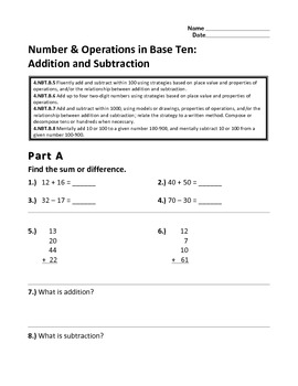 2.NBT.B.5-9 Number & Operations in Base Ten: Addition and