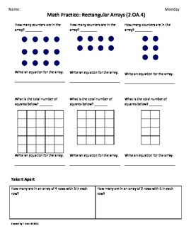 Printables Common Core Math Worksheets For 4th Grade 2 oa 4 rectangular array 2nd grade common by tonya gent core math wor