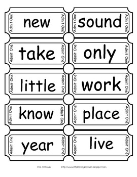 2nd 100 Fry Sight Word Tickets