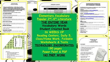 2nd-4th Vocabulary, Power Point, Center Work, HW, Test's,