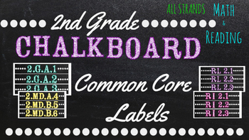 2nd Grade Common Core Math/Reading Chalkboard Labels (Ster