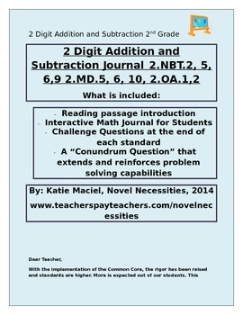 2nd Grade 2 Digit Addition and Subtraction Interactive Stu