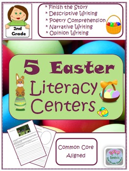 2nd Grade - 5 Easter Literacy Centers - Common Core Aligned
