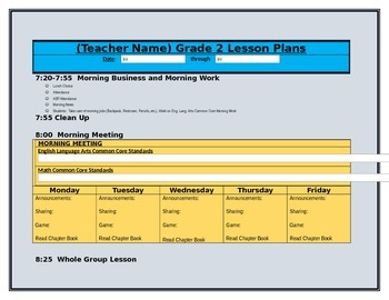 2nd Grade CCGPS Lesson Plans with Dropdown Boxes