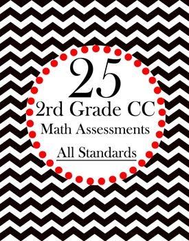 25 Math Assessments 2nd Grade Test Prep CCSS- All Standards