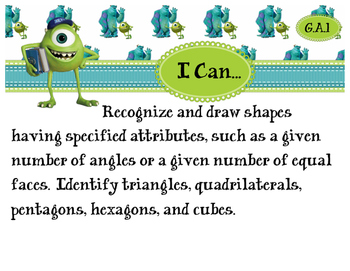 2nd Grade CCSS I Can Statement Cards - Math - Geometry