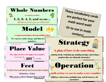 2nd Grade CCSS Math Vocabulary Word Wall Cards Bulletin Bo