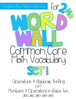 2nd Grade CCSS Math Word Wall: Set 1