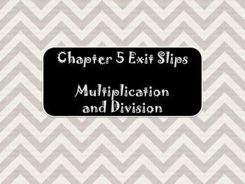 2nd Grade Chapter 5 Math in Focus Daily Exit Slips