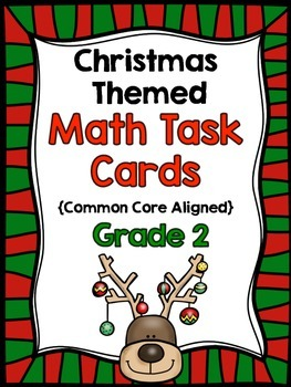 2nd Grade Christmas Math Task Cards {Common Core Aligned-