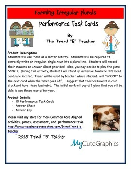 2nd Grade Common Core:  Creating Irregular Plurals Task Cards