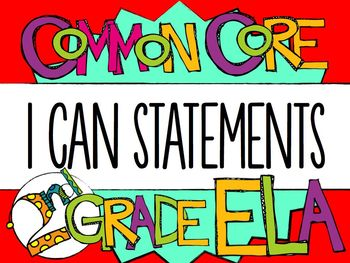 "2nd Grade Common Core ELA ""I CAN"" Statements"