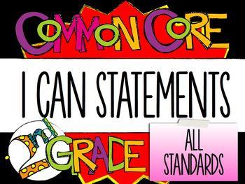"2nd Grade Common Core ""I CAN"" Statements - ELA/Math BUNDLE"