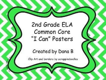"2nd Grade ELA Common Core ""I Can"" Posters - Chevron"