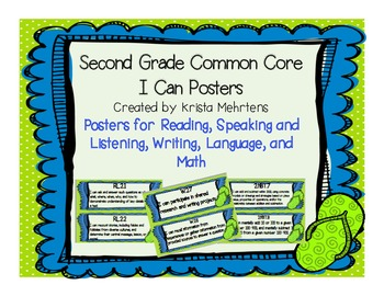 "2nd Grade Common Core "" I Can"" Posters- Flip Flops and Dot"