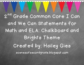 2nd Grade Common Core I Can and We Can Posters