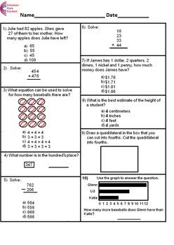 2nd Grade Common Core Math Assessment SHORT Form A (10 Que