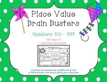 2nd Grade CCSS Place Value Brain Busters Daily Spiral Revi