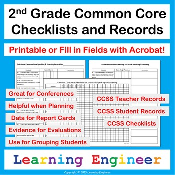 2nd Grade Checklists for Common Core ELA and Math Learning