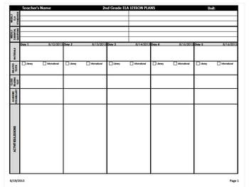 2nd Grade Common Core Weekly Lesson Plan Template -  ELA &