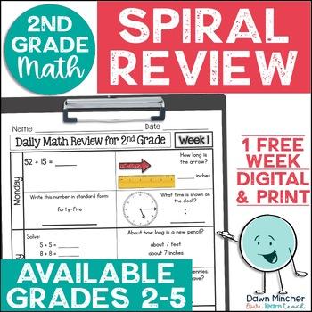 2nd Grade Daily Math Spiral Review Week 1 - FREEBIE - Full