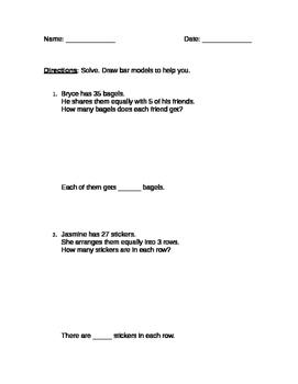 2nd Grade Division Bar Model Practice