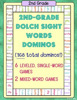 2nd-Grade Dolch Sight Word Dominos (8 Games, 168 Dominos)
