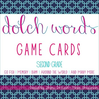 2nd Grade Dolch Sight Word Game Cards