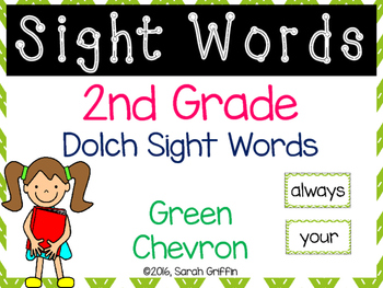 2nd Grade Dolch Sight Words ~ Green Chevron