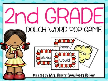 """2nd Grade Dolch Word """"Pop!"""" Game!"""