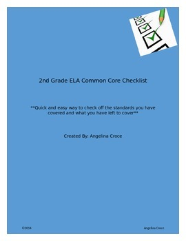 2nd Grade ELA Common Core Checklist