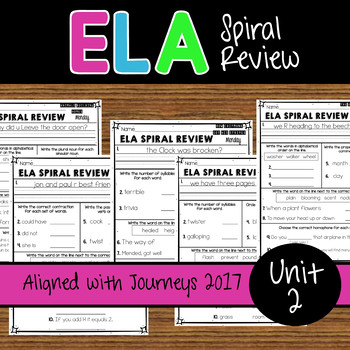 2nd Grade ELA Spiral Review - Unit 2 Weeks 6-10 - Journeys
