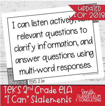 """Second Grade ELA TEKS """"I Can"""" Statements"""