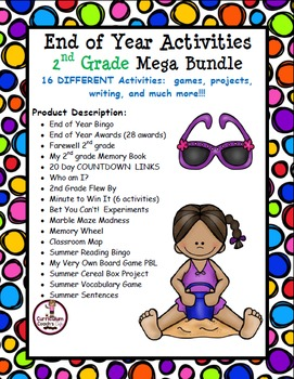 2nd Grade End of Year Mega Bundle:   Projects, Games, Awar